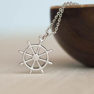 Silver Ship Wheel Necklace, Ahoy, H..
