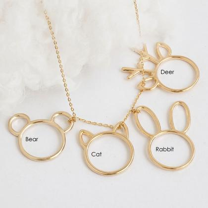Animal Ring Long Necklace, Cat Bear..