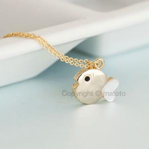 Gold Fish Necklace, Tiny Chubby Fis..