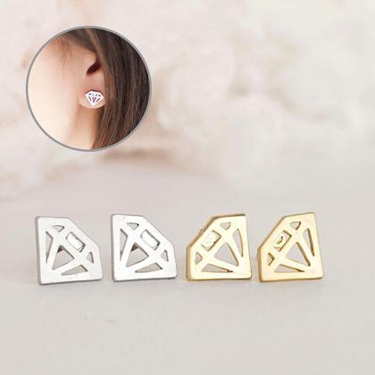 Graphic Diamond Stud Earrings, Gold..