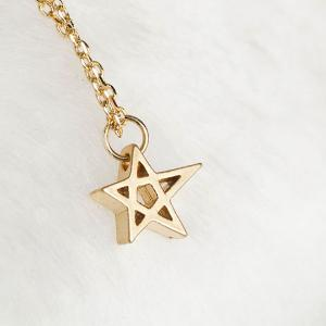 Gold Star Charm Necklace, Hollow Cu..