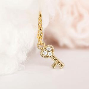 Tiny Gold Key Charm Necklace with P..