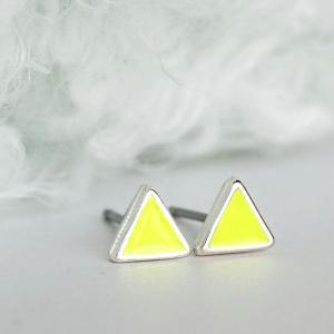 Tiny Triangle Lime Yellow Stud Earr..