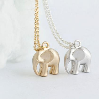 Tiny Baby Elephant Necklace, Gold /..