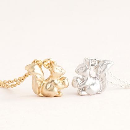 Tiny Baby Squirrel Necklace, Gold /..