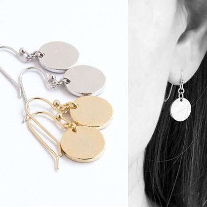 Disc Dangle Earrings, Gold / Silver..