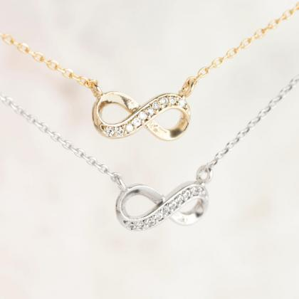 Tiny Infinity Necklace, Gold / Silv..