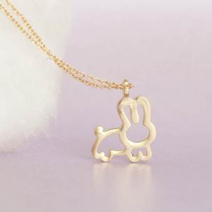 Gold Bunny Necklace, Whimsical Anim..