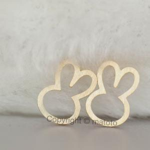 Gold Bunny Stud Earrings, Whimsical..