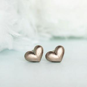 Bronze Puffy Heart Stud Earrings, S..