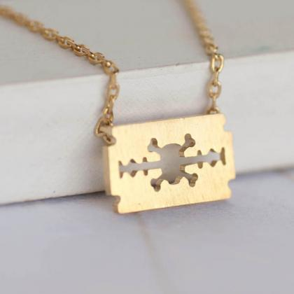 Tiny Gold Skull Crossbone Die Cut R..
