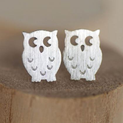 Tiny Silver Owl Stud Earrings, Whim..