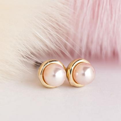 Tiny Gold Pink Pearl Stud Earrings,..