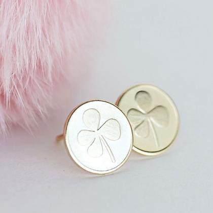 Gold Clover Disc Stud Earrings, Luc..