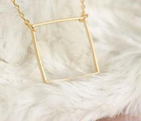 Gold Square Necklace..