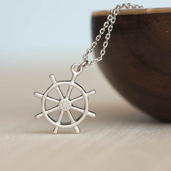Silver Ship Wheel Necklace, Ahoy, Helm Charm Necklace, Nautical