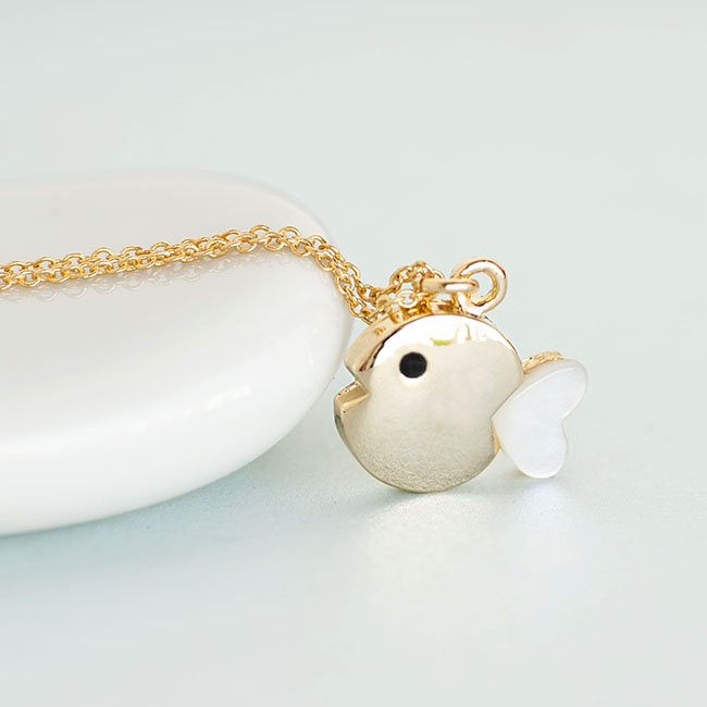 Gold Fish Necklace, Tiny Chubby Fish Charm with Mother-of-Pearl (MOP) Fish Tail Details