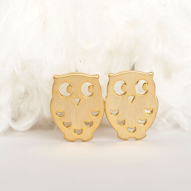 Gold Baby Owl Stud Earrings, Whimsical Bird Jewelry