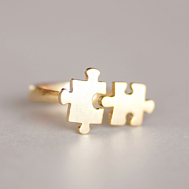 Gold Jigsaw Puzzle Ring Adjustable Open Band Ring Whimsical