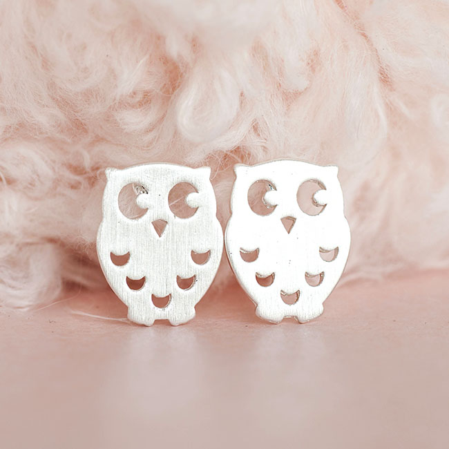 Silver Baby Owl Stud Earrings Whimsical Bird Jewelry