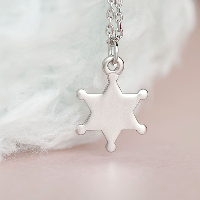 Silver Sheriff Badge Necklace, Police Star Badge Charm