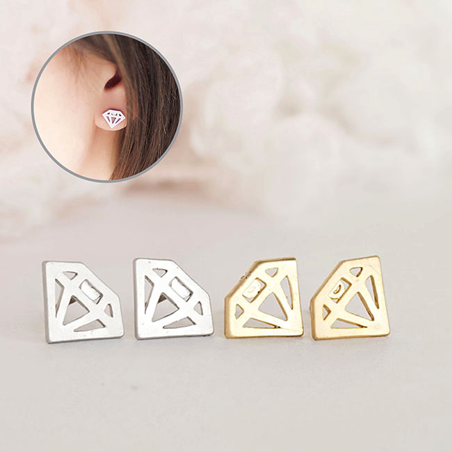Graphic Diamond Stud Earrings, Gold or Silver, Diamond in Cutout Outlined Shape, Geometric Inspired