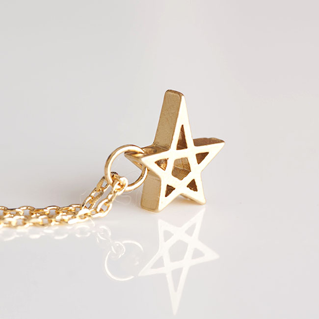 Gold Star Charm Necklace, Hollow Cutout Star Pendant