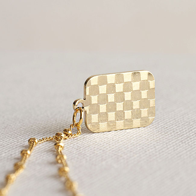 Gold Checked Charm Satellite Chain Necklace, Hologram