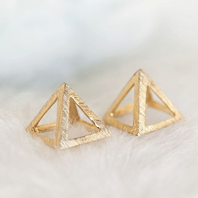 Gold Pyramid Stud Earrings, 3D Triangle Geometric Inspired