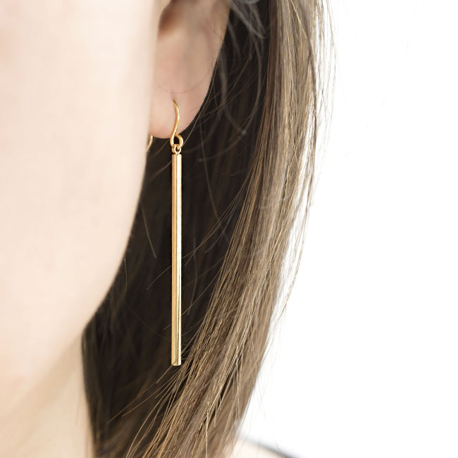 Unique Long Skinny Slim Straight Vertical Bar Earrings, Gold / Silver  JL64