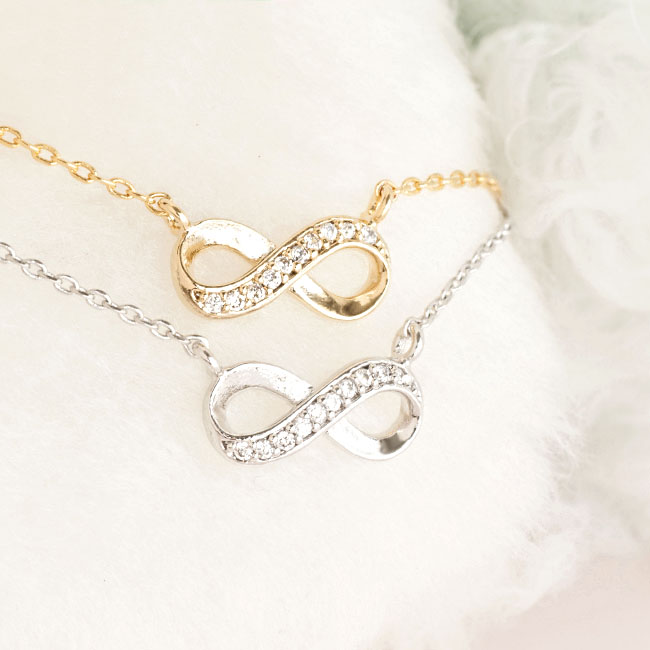 Tiny Infinity Necklace, Gold / Silver, Cubic Zirconia Crystal Pave Charm, Wedding Bridal Jewelry
