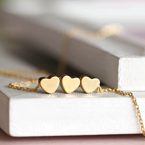 Gold Triple Hearts Necklace, Trio Hearts Wishes Lucky Charm