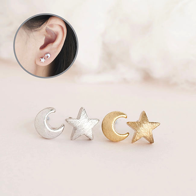 Tiny Moon Star Stud Earrings Gold Or Silver Astronomy Nebulae Galaxies Inspired Jewelry