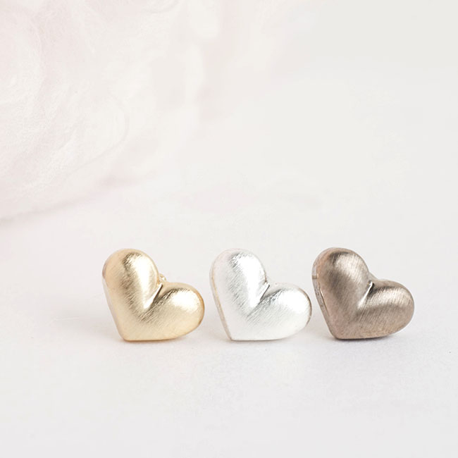 Tiny Dainty Puffy Heart Stud Earrings, Gold / Silver / Antiqued Bronze Color