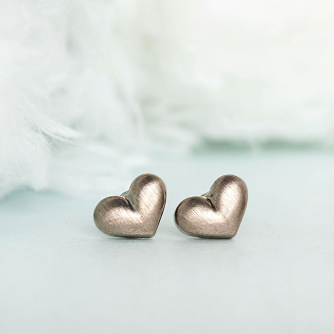 Bronze Puffy Heart Stud Earrings, Sweet Minimalist Love Jewelry