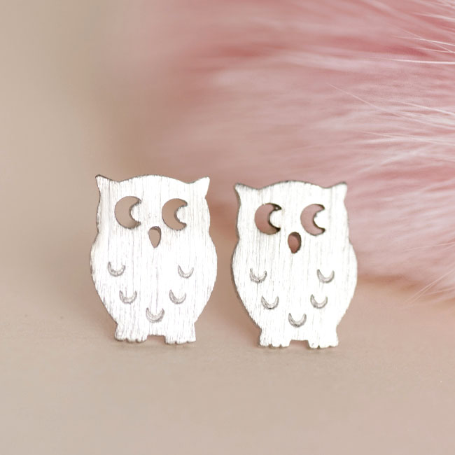 Tiny Silver Owl Stud Earrings, Whimsical Nocturnal Bird Animal Jewelry