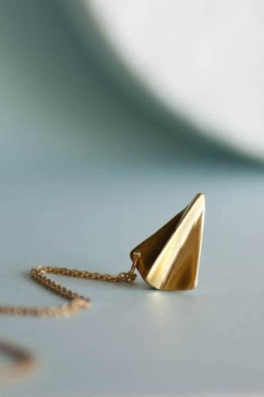 Gold Paper Airplane Necklace, Origami Aeroplane Necklace, Harry Styles Inspired