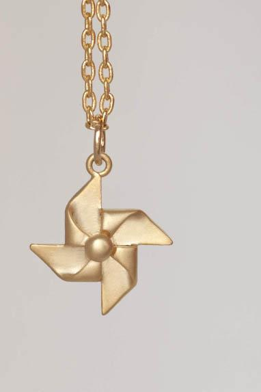 Gold Paper Pinwheel Necklace, Windmill Charm, Whimsical