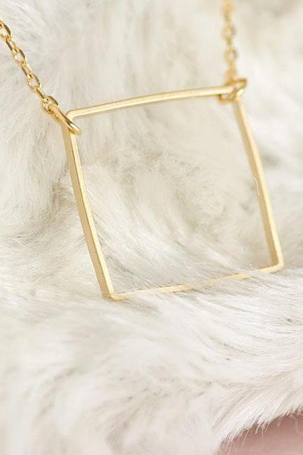 Gold Square Necklace, Square Charm Necklace, Minimalist, Geometric, Zen