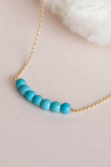 Turquoise Bead Bar Necklace, Gold / Silver Chain Option
