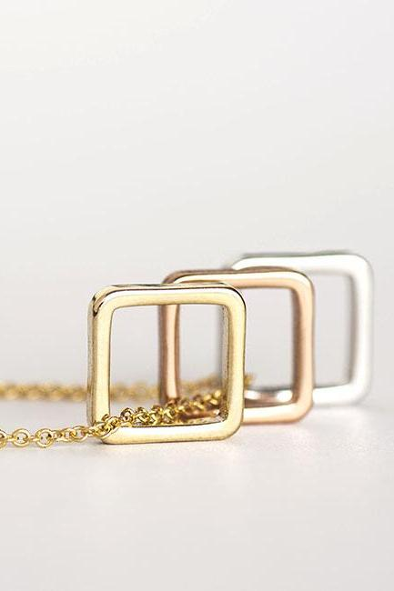 Trio Color Square Charm Necklace, Gold / Silver Chain Option, Minimalist Geometric Inspired