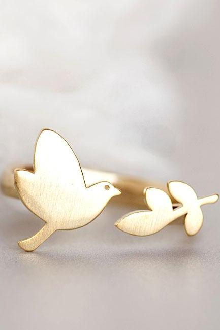 Gold Bird Leaf Ring