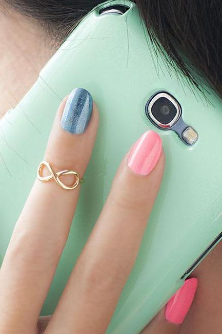 Gold Infinity Knuckle Ring, Mini Eternity Pinky Ring