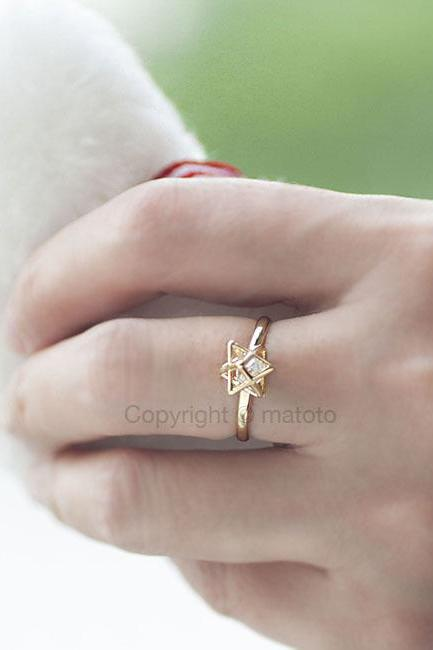 Gold Star 3D Spike Ring with Cubic Zirconia, Sparkle