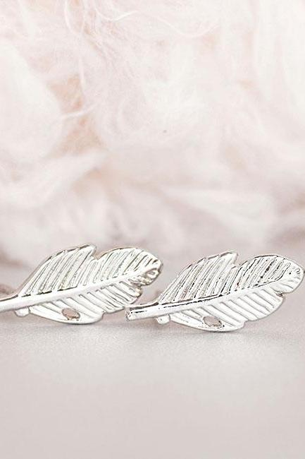 Silver Leaf Stud Earrings, Fallen Leaves Ear Post, Nature Inspired