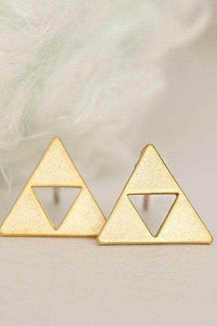 Gold Triforce Triangle Stud Earrings, Zelda Inspired