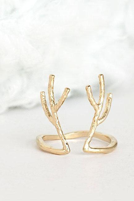 Gold Antler Deer Antelope Ring, Whimsical Animal Jewelry, Adjustable Ring Size