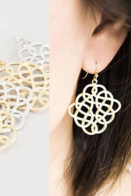 Large Celtic Knot Earrings, Gold / Silver, Weave Dangle Charm, Cocktail Gala Wedding Jewelry, Bridesmaid Gift