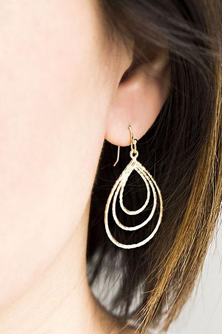 Large Triple Teardrop Hoop Charm Dangle Earrings, Gold / Silver, Wedding Party Jewelry, Bridesmaid Gift