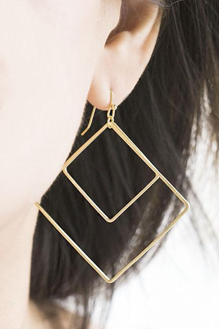 Gold Large Double Square Dangle Earrings